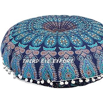 "Third Eye Export - 32"" Mandala Barmeri Large Floor Pillow Cover Cushion Meditation Seating Ottoman Throw Cover Hippie Decorative Zipped Bohemian Pouf (Blue)"