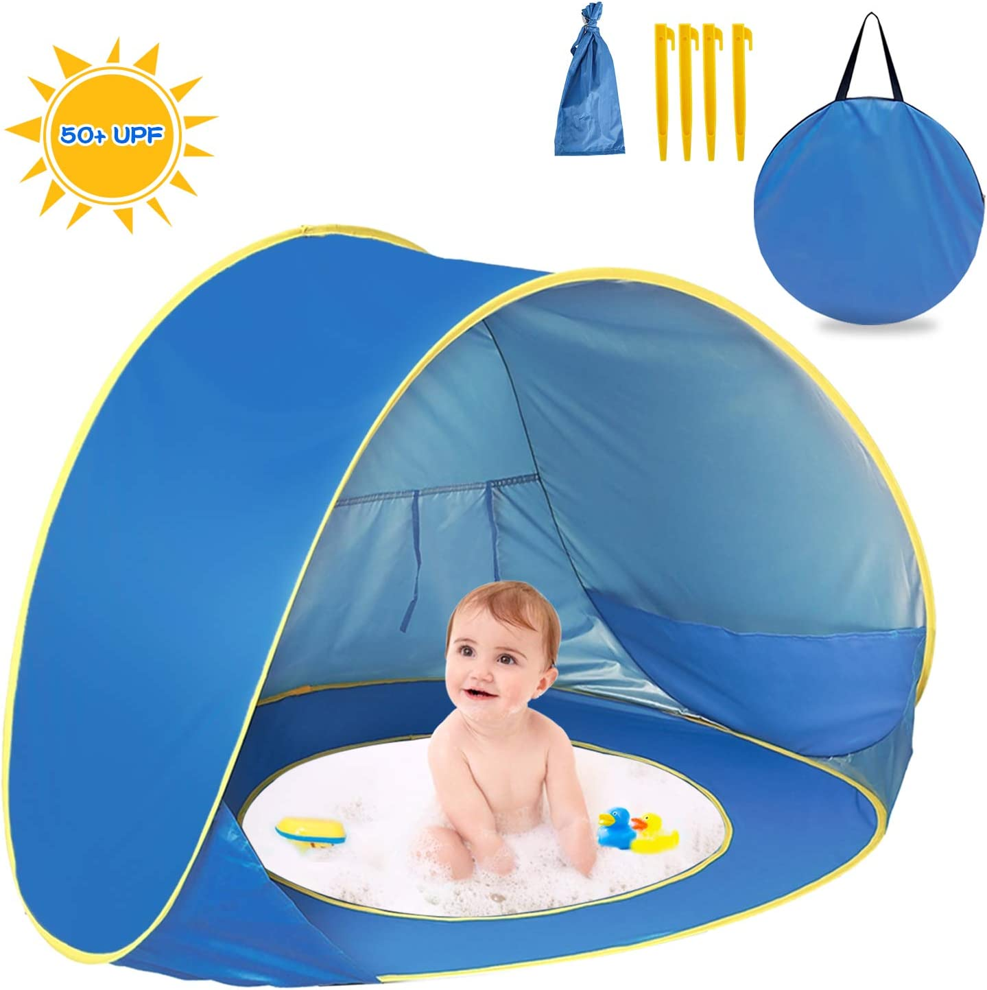 Pop Up Baby Beach Tent,UPF 50+ Beach Camping Tent Anti UV for 2 3 Kids Foldable Waterproof tent Portable Sun Shelter Indoor and Outdoor Beach Picnic
