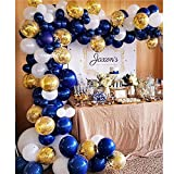 Navy Blue Balloons 104 Pcs 10 Inch Confetti Balloons Matte White Latex Balloon Garland Kit with 1 PCS Balloon Strip for 1st Birthday Party Baby Shower Wedding Party - 3 Colors