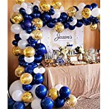 Soonlyn Navy Blue Balloons 104 Pcs 12 Inch Confetti Balloons White Latex Balloon Garland Kit with 1 PCS Balloon Strip for Baby Shower 1st Birthday Party Wedding Party - 3 Colors