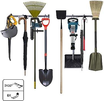 Powder Coated Steel Garden Tool Organizer 8 Hooks Garage Storage Rack Kinghouse 64 Wall Holders For Tools Holds Up to 350lbs Tools Garage /& Home Storage System 8 Heavy Duty Hooks