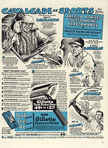 Lou Boudreau Guy Lombardo Larry Hughes for Gillette Razors ad 1947 L