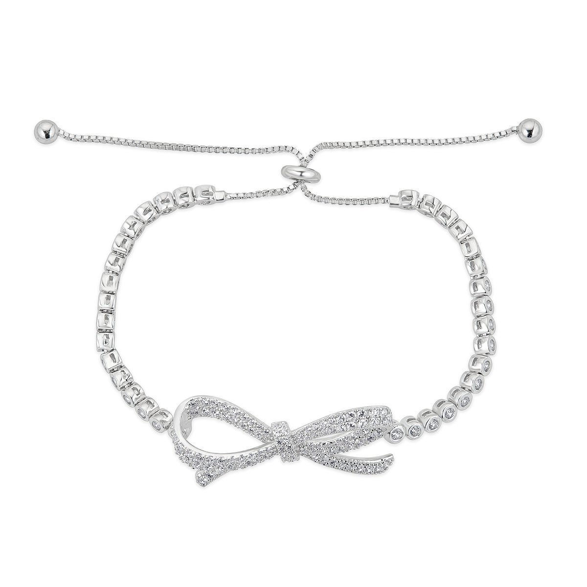Platinum Plated Sterling Silver Cubic Zirconia Pave Bow Bracelet