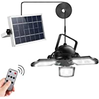 Solar Pendant Lights, AGPTEK Solar Powered Shed Light with Remote Control 60LED 800LM for Outdoor Indoor Home Yard Barn…