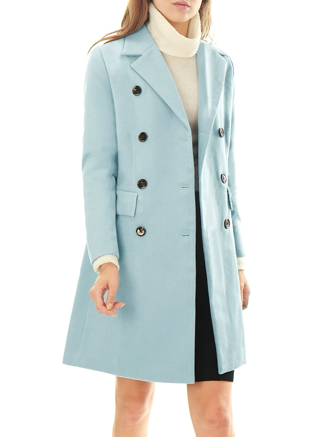 Allegra K Women Notched Lapel Double Breasted Wool Blended Long Coat