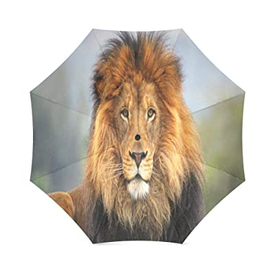 Custom Lion Compact Travel Windproof Rainproof Foldable Umbrella