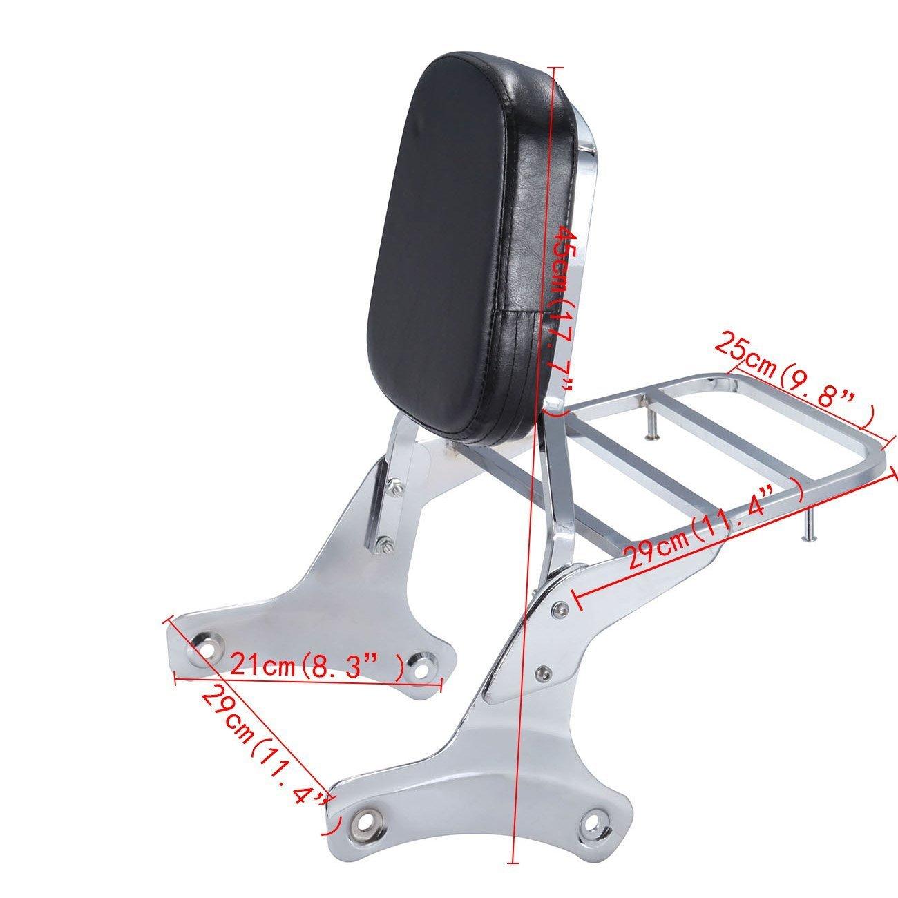 Iglobalbuy Chrome Backrest Sissy Bar Luggage Rack for Honda Shadow VT750 C2 RC44 1998-2003 VT 400 1997-2003