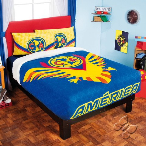 Bedspread Fleece CLUB America Soccer futbol Ind.-Twin Sports Football Plus Sheets Blanket Set LIMITED EDITION by iN.