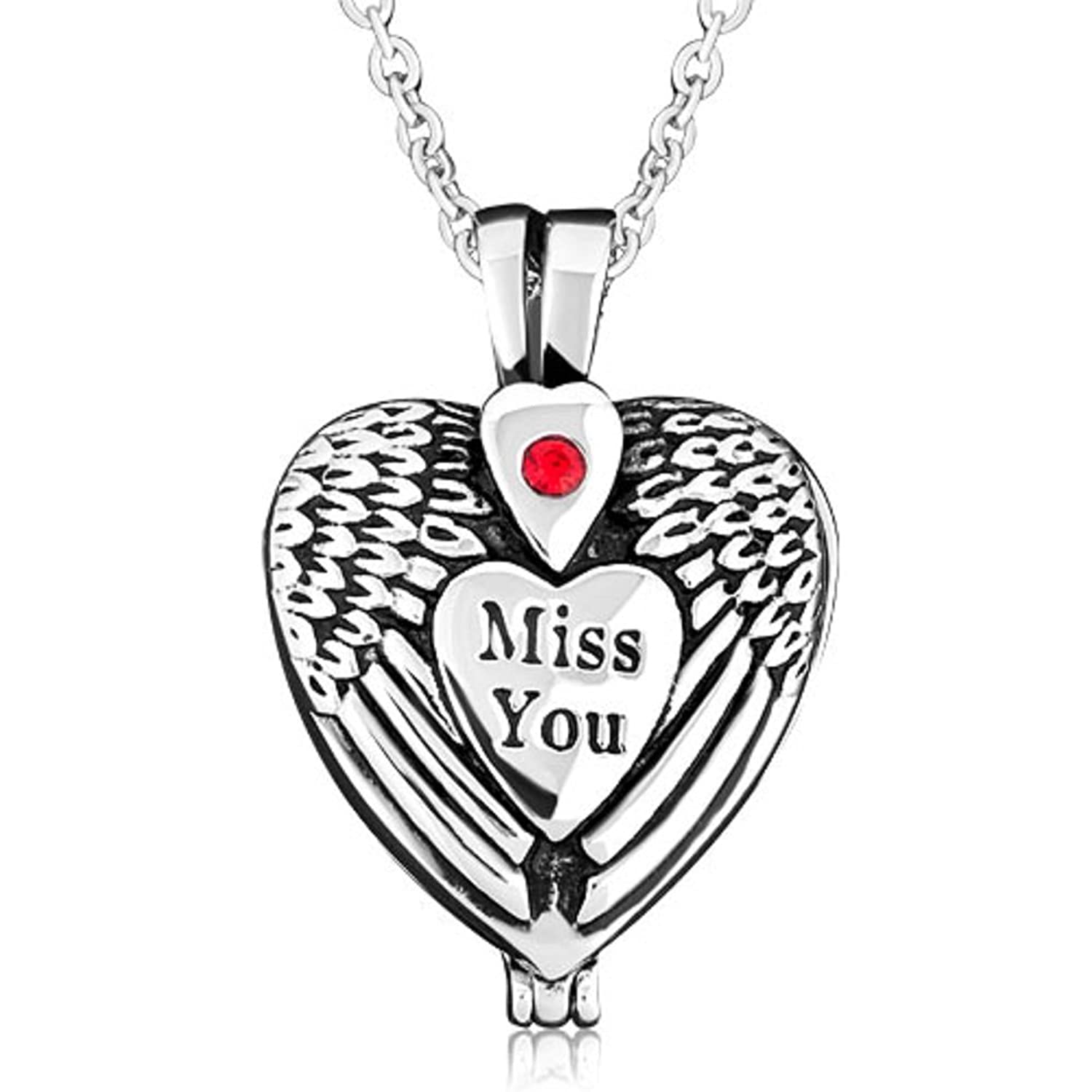 Corykeyes Miss You Angel Wings Urn Necklace Memorial Ashes Holder Cremation Keepsakes