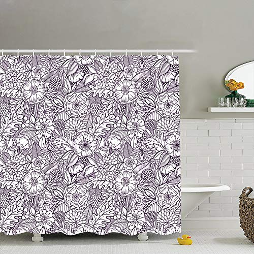 best & Seamless Floral Pattern Backgrounds Textures Modern Fabric Bathroom Decor Set with Hooks, 60 x 72 Inches