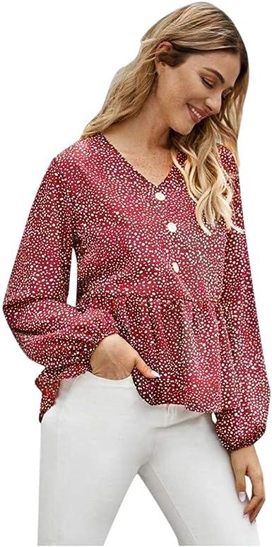 RISTHY Mujeres Polka Punto Camisa Manga Larga Camiseta Fruncido Blusa Casual Tops: Amazon.es: Ropa y accesorios
