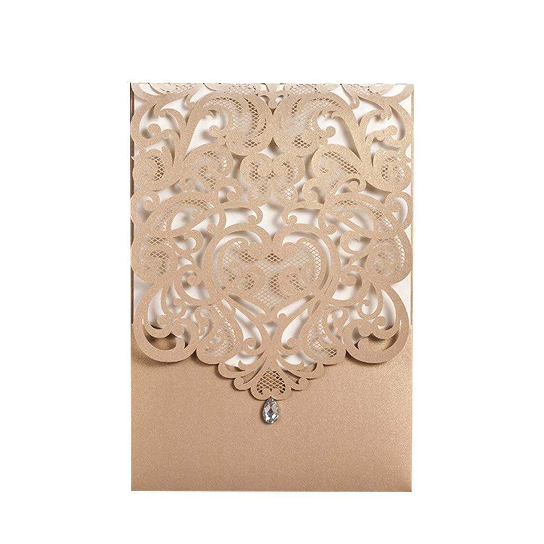 Wishmade 50pcs Gold Laser Cut Wedding Invitations Hollow Vertical Lace Flower Invitation Cards Kit With Rhinestone Marriage Engagement Bridal Shower: Wedding Invitations With Rhinestones At Reisefeber.org
