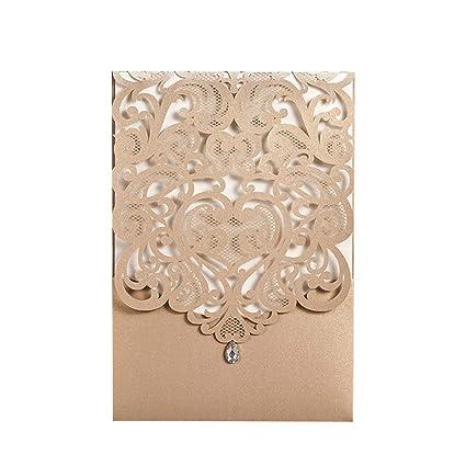 Wishmade Wedding Invitations Kits 50pcs Gold Vertical Laser Cut