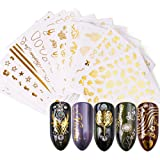 Hanzel Gold Nail Art Water Transfer Stickers - 16 Pcs Mixed Pattern Metallic Nail Stickers Manicure DIY Nail Decals…