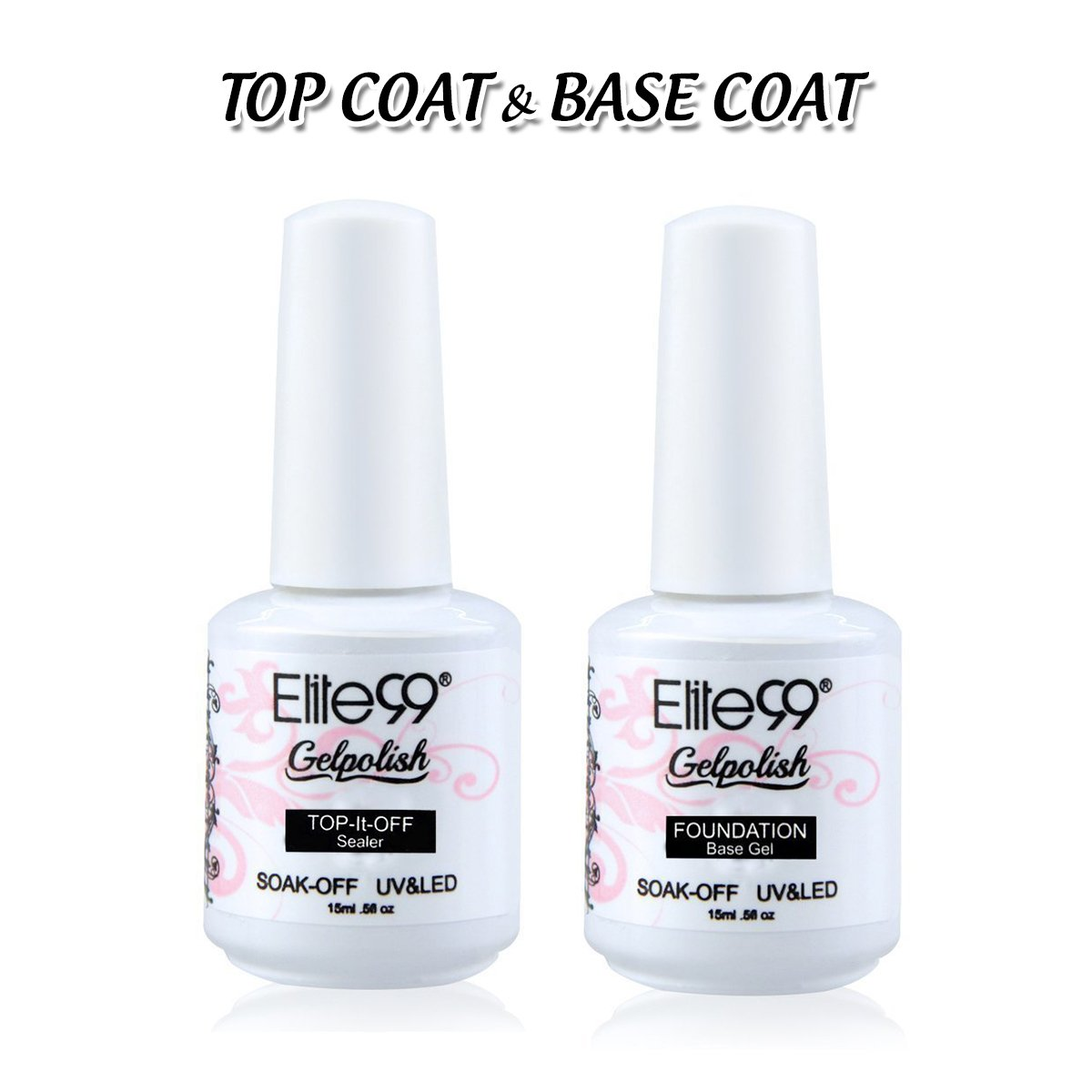 Amazon.com: Elite99 Gel Nail Polish Base Coat Top Coat Set 2PCS Soak ...