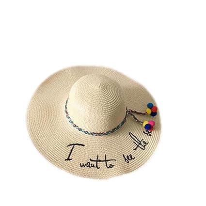 3c06b90d4ddebc LOVEHATS Women Shade Sunhat Beach Caps Letter Embroidery Cap Big Brim  Ladies Summer Straw Hat Youth