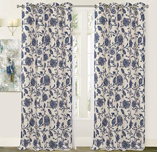 DriftAway Freda Jacobean Floral Linen Blend Lined Thermal Insulated Blackout Room Darkening Grommet Window Curtains 2 Layers 2 Panels Each 50 Inch by 84 Inch Navy Beige (Floral Jacobean)