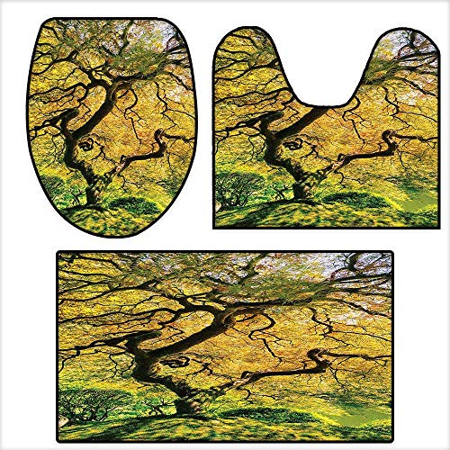 3-Piece Bathroom Mat Set Shadows of a Large Maple Tree along with River with Sunlight Fall Season Nature Theme for Green and Yellow.Extra Soft Memory Foam Combo - Rug 16.9