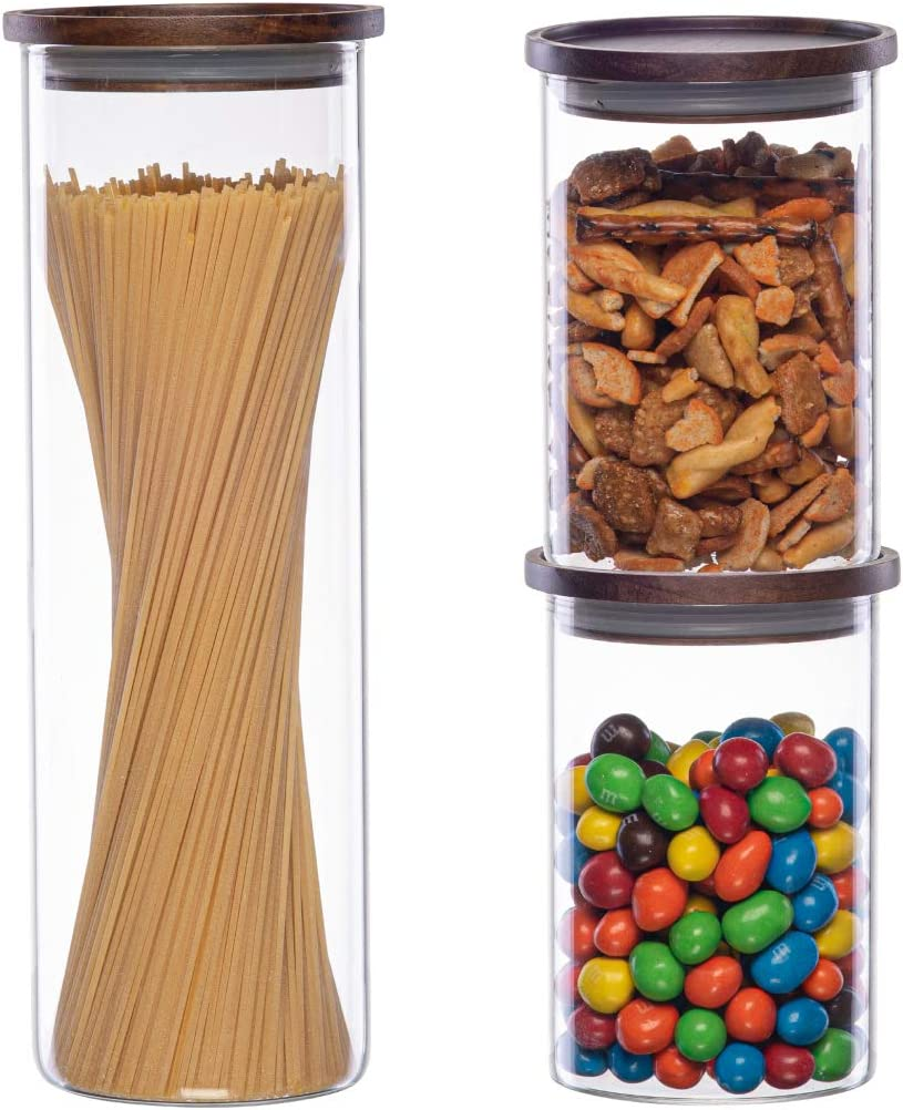 Essos Glass Jars with Wood Lids Set (1) 68 fl oz and (2) 32 fl oz Canisters Airtight and Stackable Storage Containers for the Kitchen or Pantry Canister Wooden Lid holds Food Cookies Spaghetti