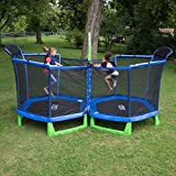 SportsPower My First Trampoline with Enclosure Double 7-Foot Kids Circle Trampoline with BattleZone