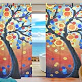 INGBAGS Bedroom Decor Living Room Decorations Colorful Tree Pattern Print Tulle Polyester Door Window Sheer Curtain Drape Two Panels Set 55×78 inch ,Set of 2 For Sale
