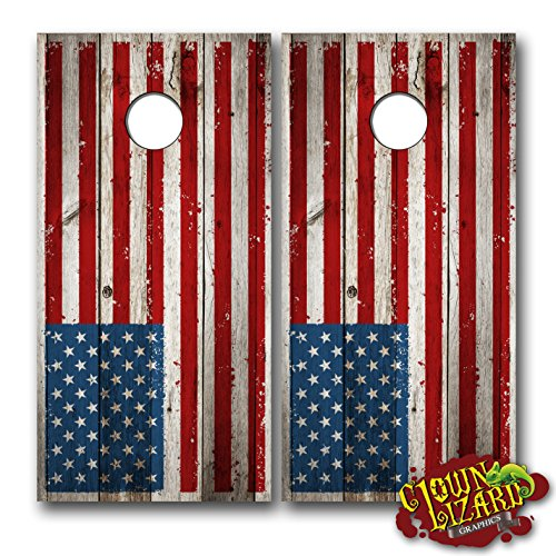 (CL0001 American Flag Distressed CORNHOLE LAMINATED DECAL WRAP SET Decals Board Boards Vinyl Sticker Stickers Bean Bag Game Wraps Vinyl Graphic Tint Image Corn)
