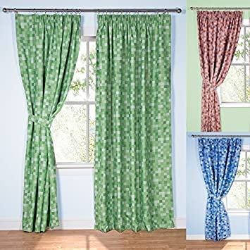 Green Curtains amazon green curtains : Pixel Ready-Made Light-Reducing Curtains (Green, 117 x 183cm (46 ...