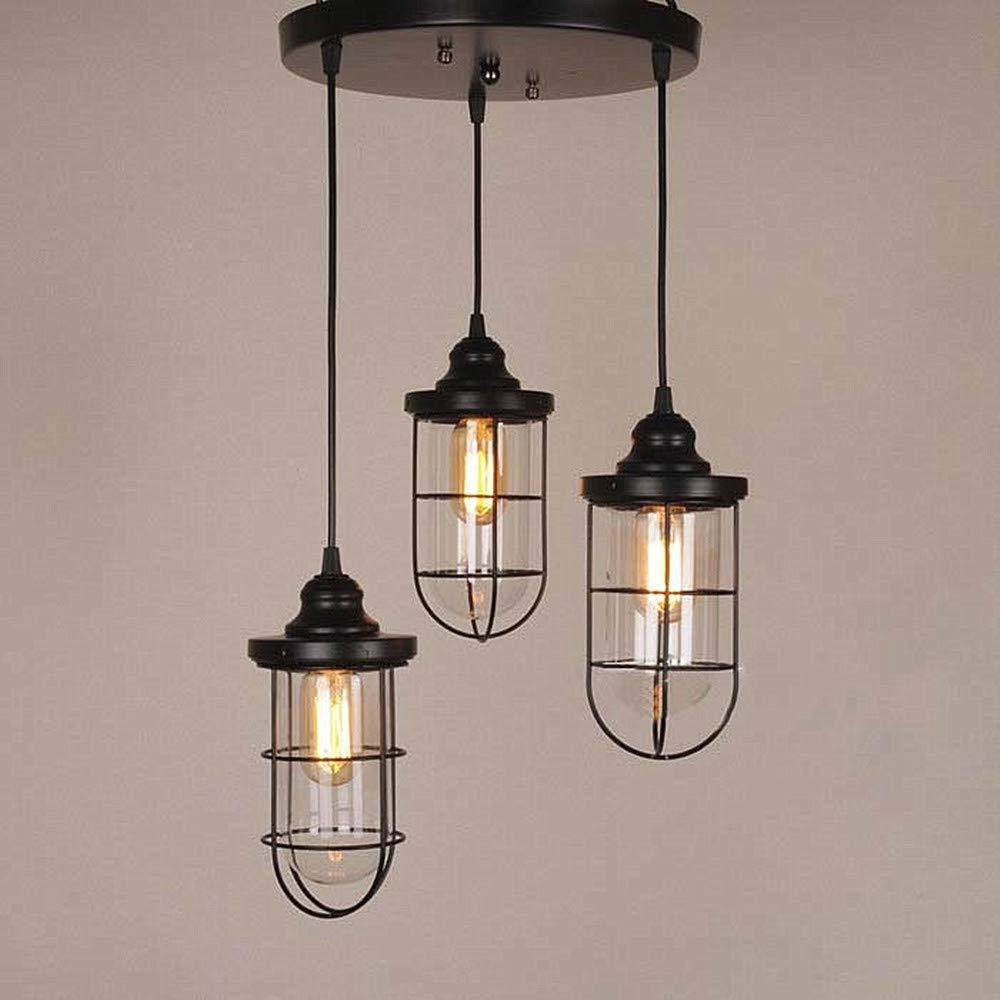 Ladiqi 3 lights vintage hanging pendant light industrial indoor