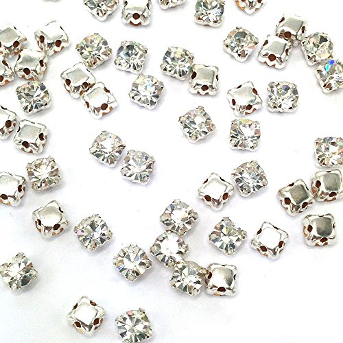 Greatdeal68 3mm to 8mm Glass Rhinestone Sew-on silver settings with 4 holes Crystal/ Crystal AB/ Color (8mm 20pcs, Crystal) ()