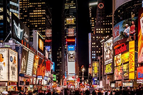 (Times Square New York City NYC at Night Photo Art Print Poster 36x24 inch)