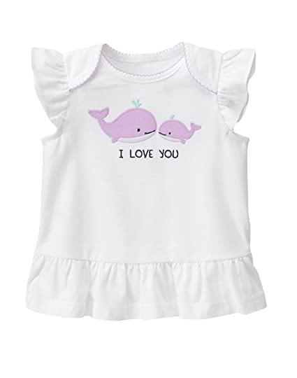 ab0eb3f74ad57 Amazon.com: Gymboree Baby Toddler Girls' Rouched Whale I Love You Top:  Clothing