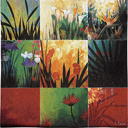 - Tropical Nine Patch by Don Li-Leger   Woven Tapestry Wall Art Hanging   Abstract Tropical Floral Color Panels   100% Cotton USA Size 53x53