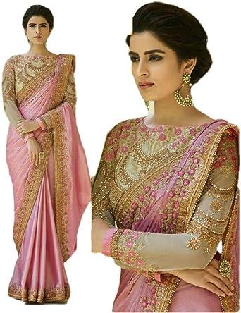 Indian Women Partywear Designer Saree Ethnic Embroidery Nevy Blue Georgette Sari