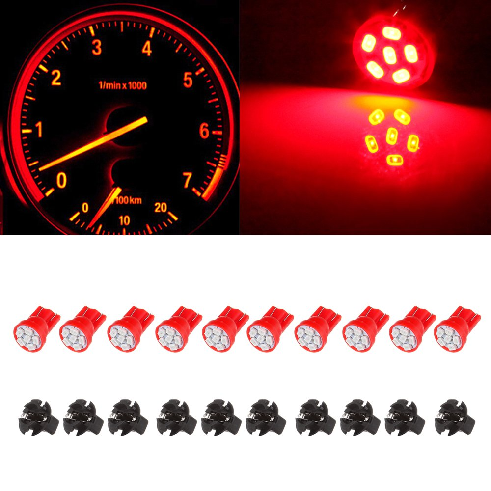 cciyu 10x Red T10 PC194 3020 SMD LED Light Bulb Instrument Panel Cluster Dashboard w/Sockets 993769-5210-1731402