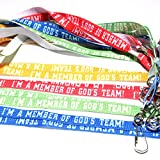 ''God's Team'' Badge Holders with Clip (12 Pack) 19 1/2''.