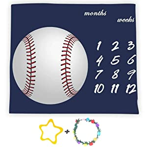 F-FUN SOUL White Baseball Baby Milestone Blanket, Large 48x40in Soft Fabric, Months Growth Tracker Blue Props, Baby Shower Newmom Gift, Included 2 Bonus Marker LHFS827