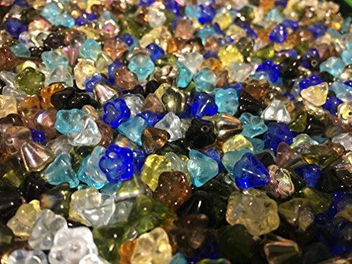 Czech Glass Pressed Flower Cup Bead Mix 100 (Czech Flower Beads)