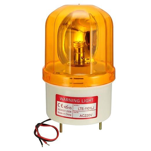 sourcing map Bombilla de luz de advertencia tipo L/ámpara LED de alarma sonora intermitente giratoria 90dB AC 220V amarillo