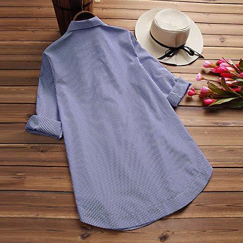 LANSKIRT Camisa de Las Mujeres Impresión de Cuadros Manga Larga Tallas Grandes Loose Casual Blusa con Botones en la Parte Superior del botón de Bolsillo: ...