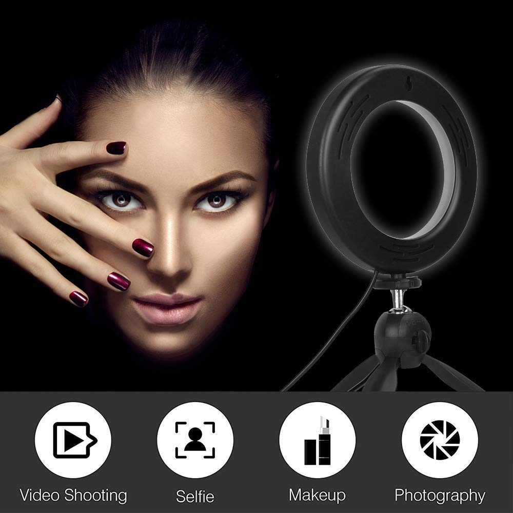 Zomei 6 Pouces Anneau Lumineux LED Dimmable avec Mini Trépied et Alimentation USB pour Maquillage, Streaming en Direct, Lampe de Bureau avec 3 Modes
