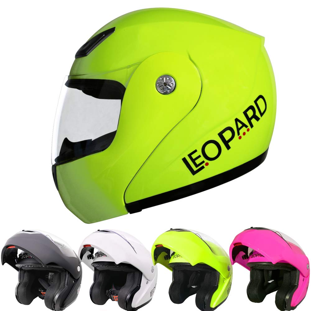 Leopard LEO-717 ECE Approved Flip up Motorcycle Motorbike Helmet Yellow S 55-56cm