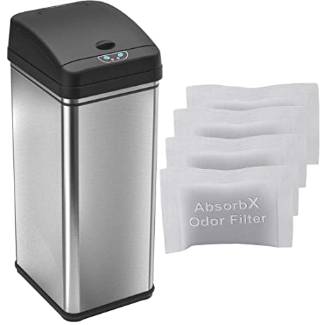 iTouchless Automatic Trash Can with 4 Odor Filters, Big Lid Opening  Touchless Sensor Kitchen Trash Bin, 13 Gallon, Stainless Steel