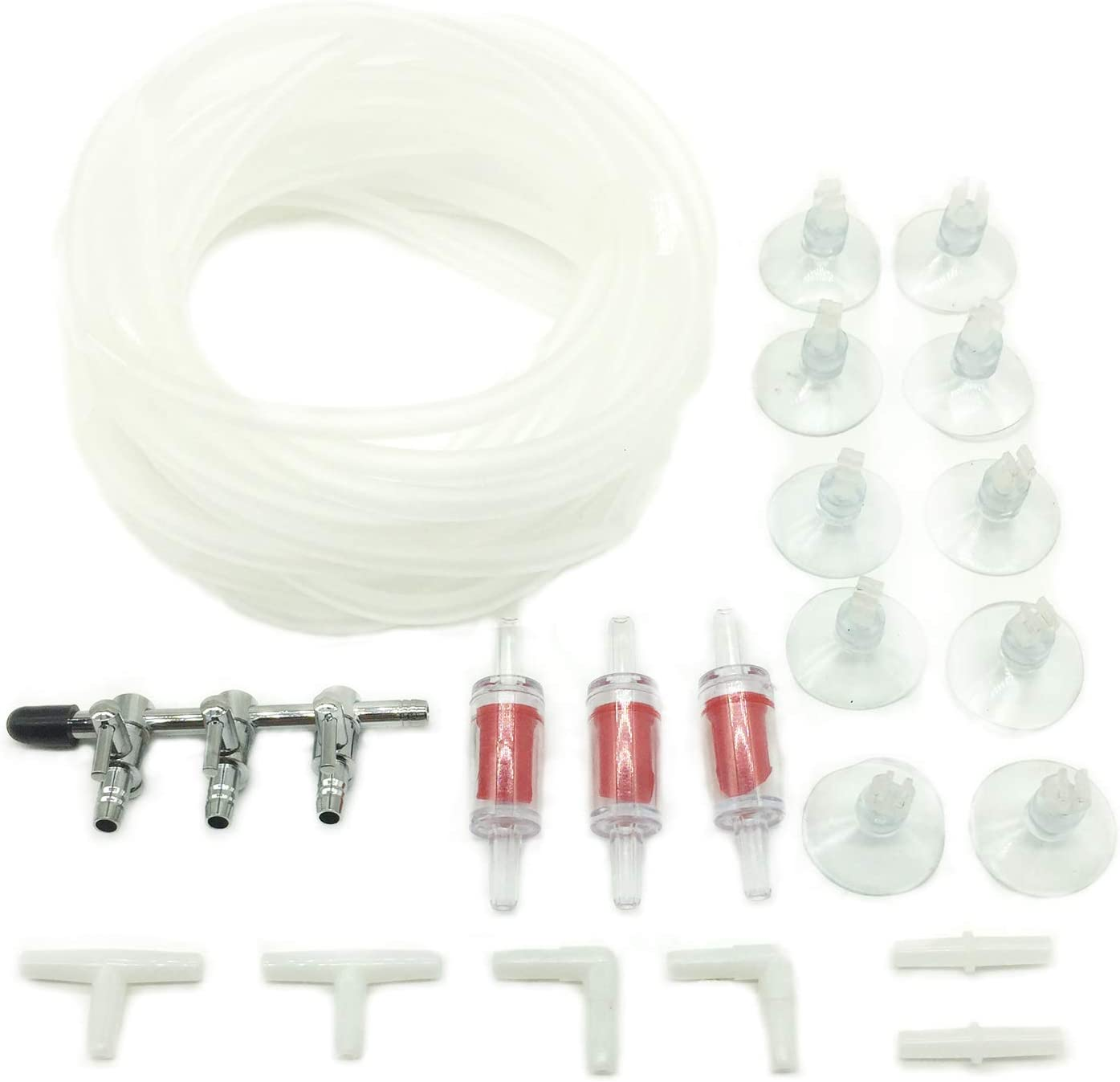 PietyPet Valvula de Acero Inoxidable de 3 Grifos con 4m Tubo de línea aérea estándar, 3 Válvula de Retención, 10 Clips de Ventosa y 6 Conectores