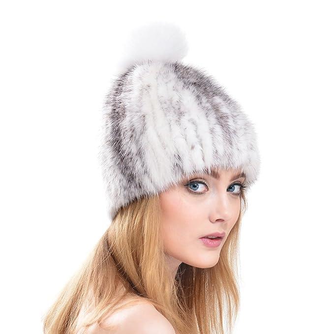 Vemolla Sombreros de Invierno para Mujer Sombrero de Piel de visón Trenzado  Real con Plata Fox Fur Pom Beanie Blanco y Gris  Amazon.es  Ropa y  accesorios 2c9a6910d73