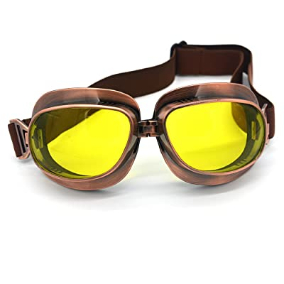Evomosa Motorcycle Goggles Vintage Pilot Goggles Retro Motocross Goggle Outdoor Eyewear Sports Glasses for Half Helmet: Automotive