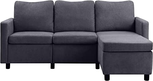 GUNJI Convertible Sectional Sofa Couch Modern Linen Fabric L-Shaped Couch
