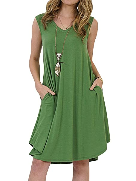 3968daa555 Imysty Womens Summer Sleeveless Solid Dresses Casual V Neck Swing T-Shirt  Dress with Pockets at Amazon Women's Clothing store: