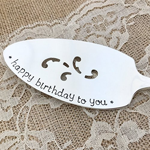 (Happy Birthday To You- Vintage Cake Server, hand stamped. Clairhill)