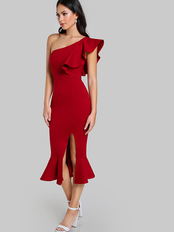 9d048350026 Floerns Women s Ruffle One Shoulder Split Midi Party Bodycon Dress at  Amazon Women s Clothing store