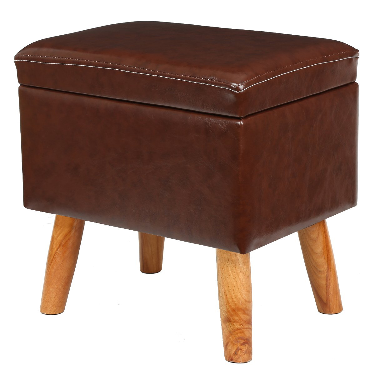 Eshow Ottoman and Storage Foot Stools Ottoman with Storage Decorative Shoe Bench Leather Storage Ottoman Cube Multifunctional Footstool Brown